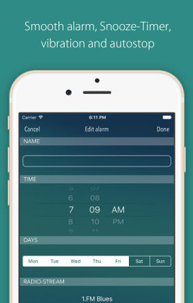 Smooth alarm, Snooze-Timer, vibration and autostop